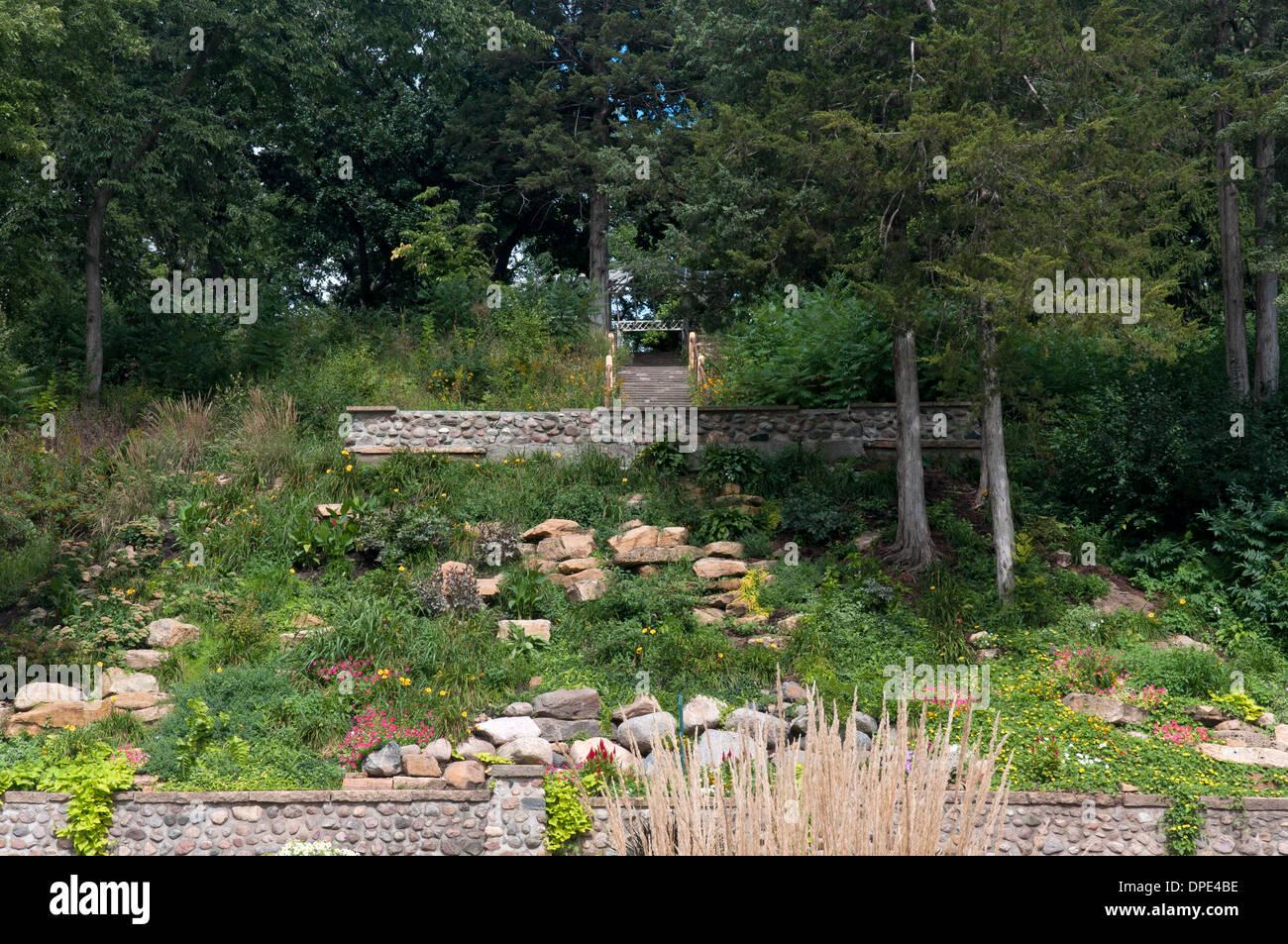 Sibley Park Rock Garden And Walking Trail Leading To Pergola In Mankato  Minnesota