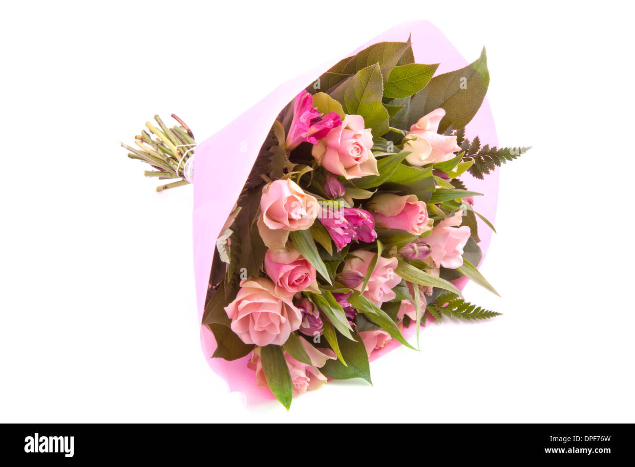 Bouquet with different kind of flowers wrapped in pink paper stock bouquet with different kind of flowers wrapped in pink paper mightylinksfo Gallery
