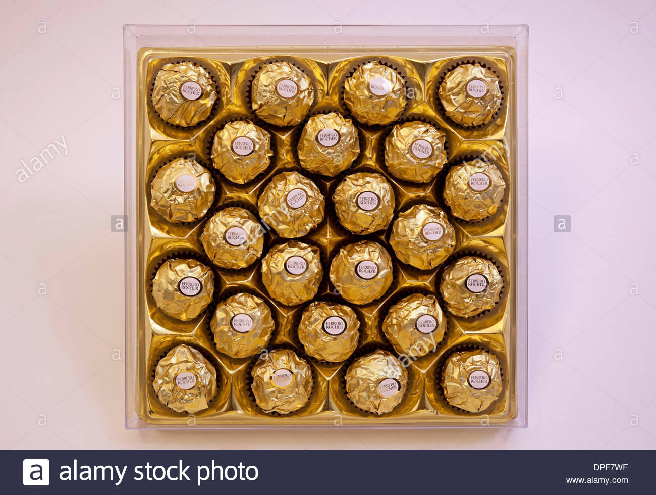 Box of ferrero Rocher chocolates confectionery sweet in gold foil ...