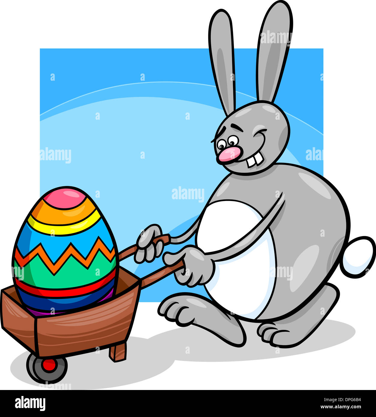 cartoon illustration of funny easter bunny with big egg on