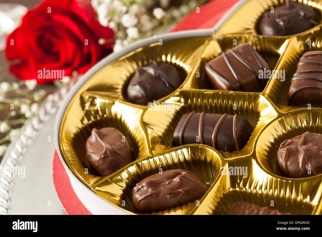 Fancy Box of Gourmet Chocolates for Valentine's Day Stock Photo ...