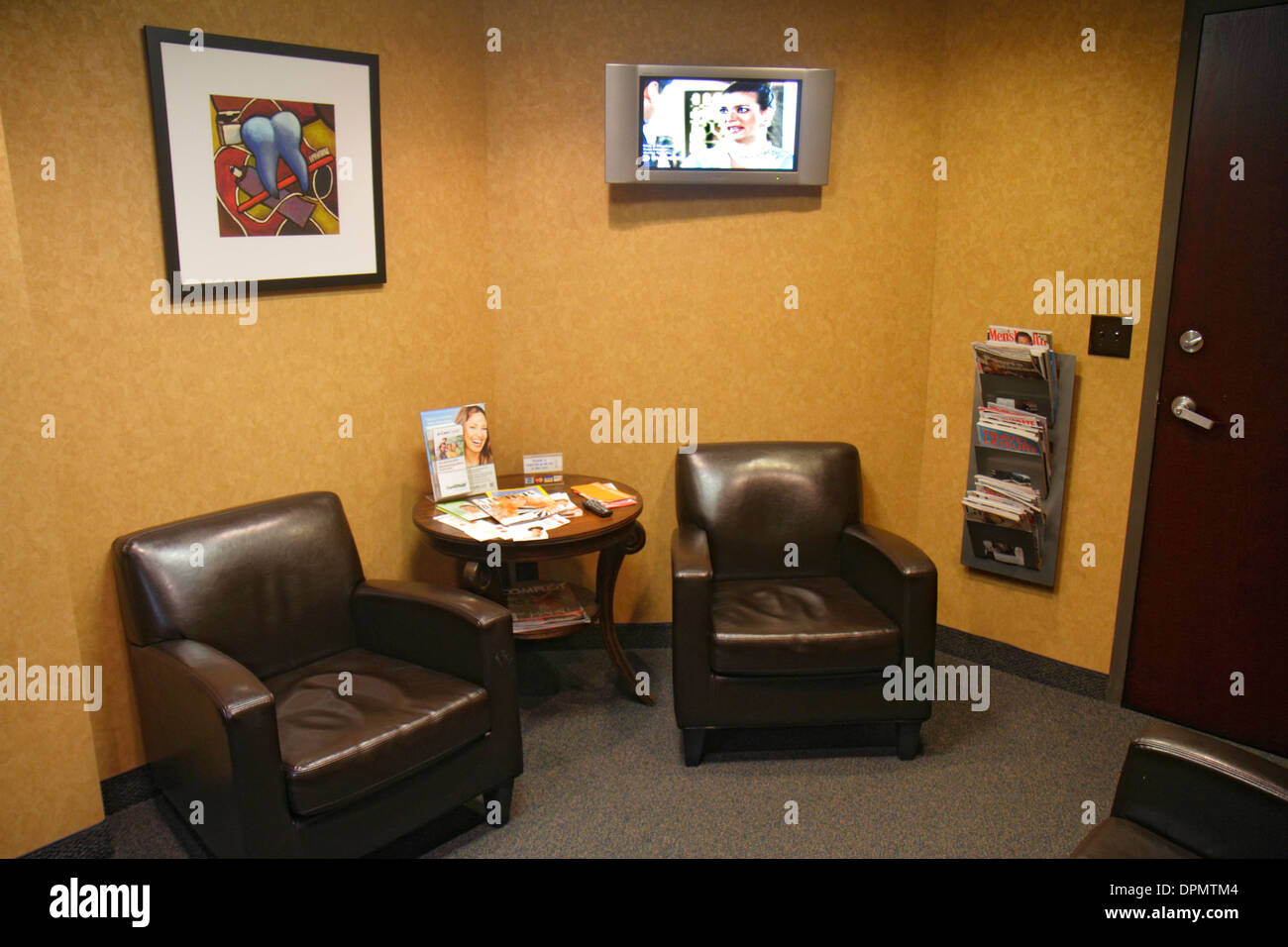 Miami Beach Florida Dentists Office Waiting Room Area Furniture Chairs Flat Panel TV Television