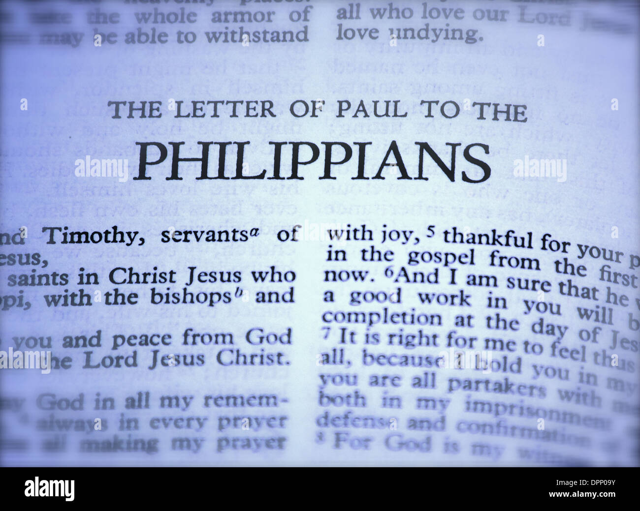 bible letter of paul to the philippians stock photo royalty