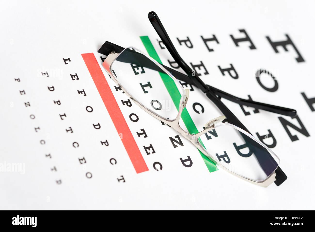 Eyeglasses on the eye chart background stock photo royalty free eyeglasses on the eye chart background nvjuhfo Image collections