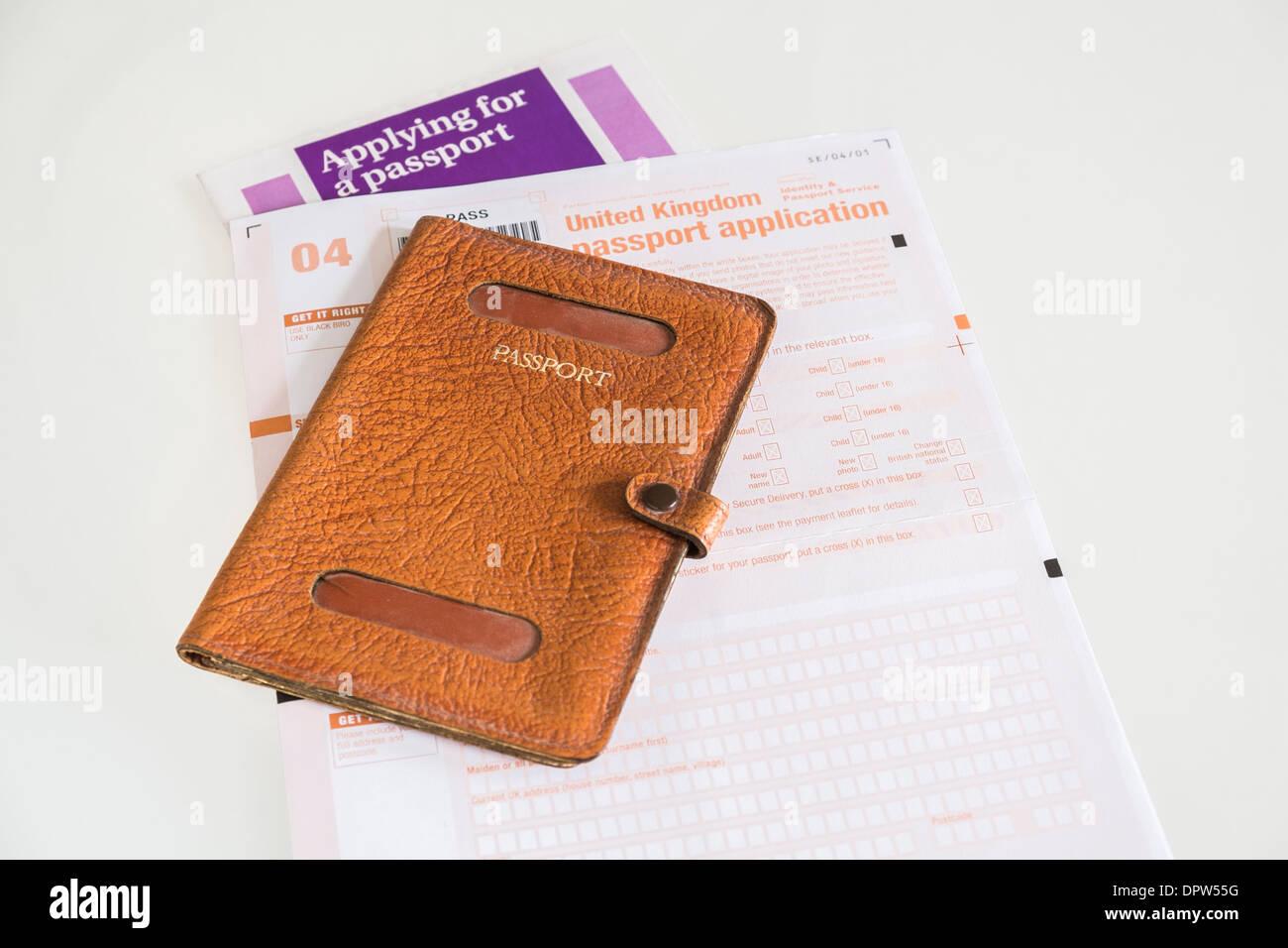 Uk passport application form and empty passport holder stock photo uk passport application form and empty passport holder falaconquin