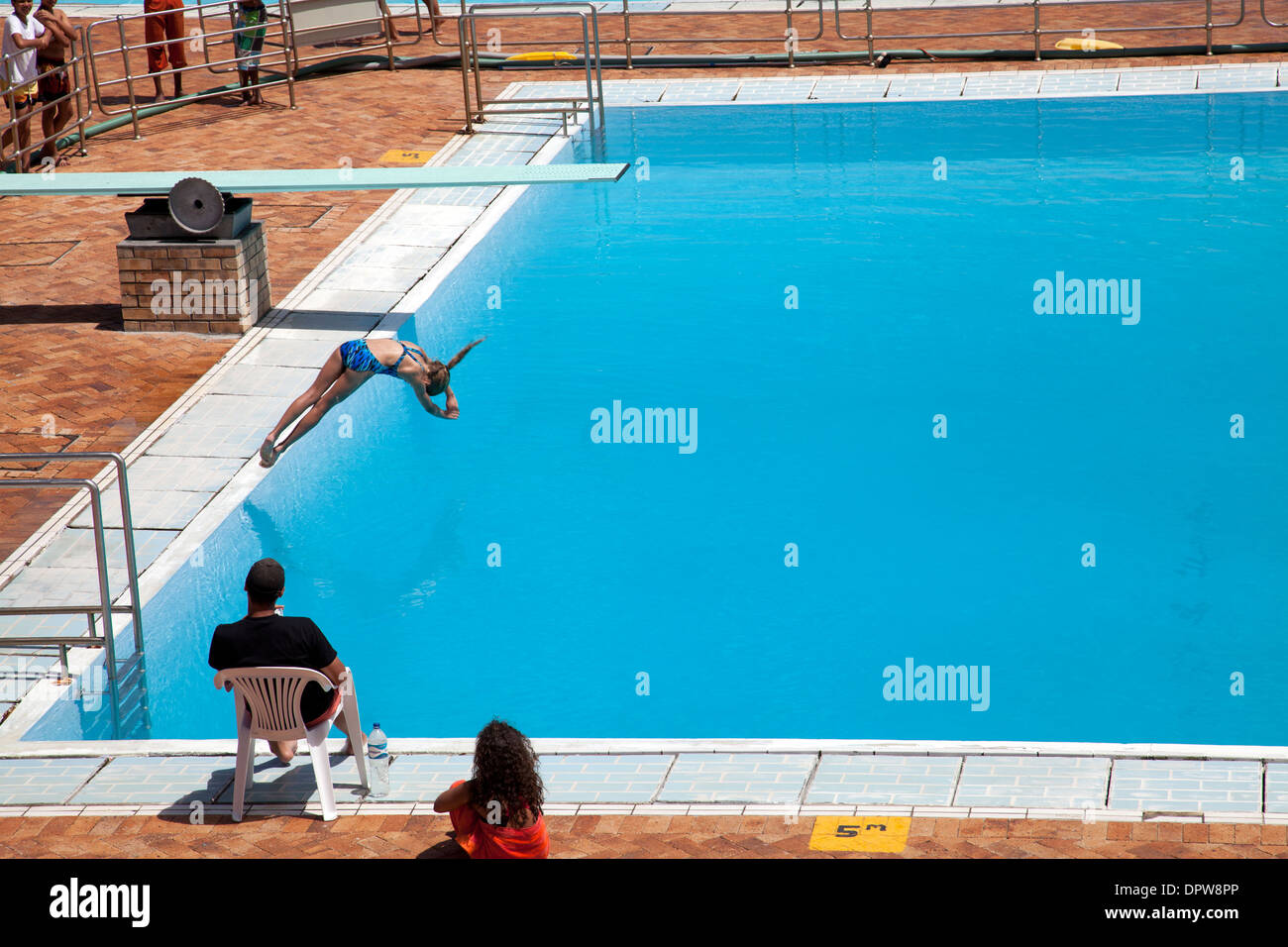 Young Girl Diving Into Pool At Pavilion Swimming Baths In Sea Point Stock Photo Royalty Free