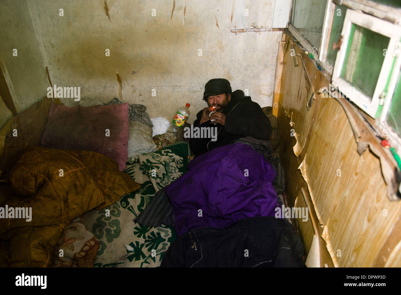 Feb Bishkek Kyrgyzstan One Homeless Man Lives In A - The poorest country in central asia