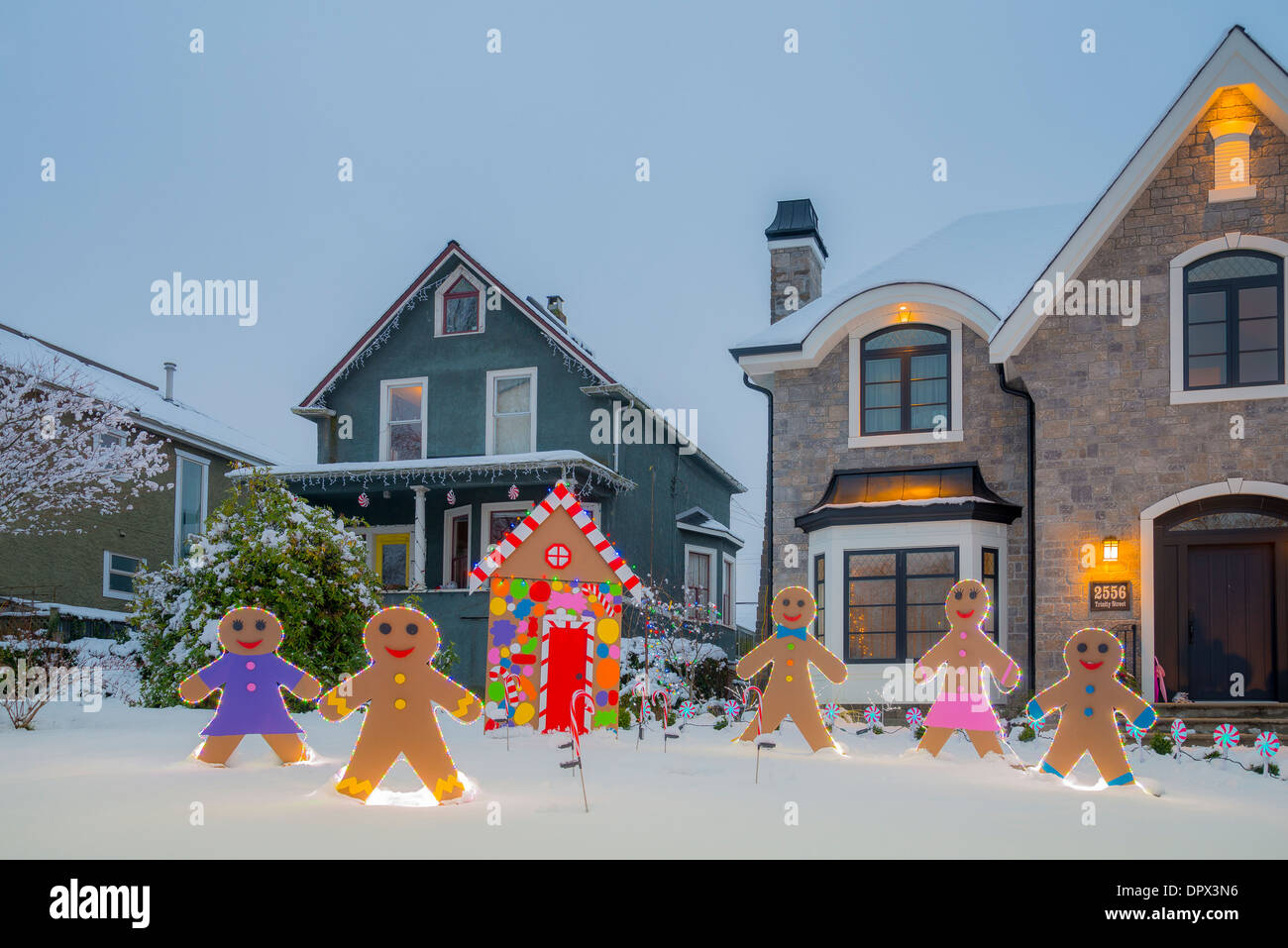 Gingerbread House And Men, Trinity St Christmas Lights Competition,  Vancouver, British Columbia,