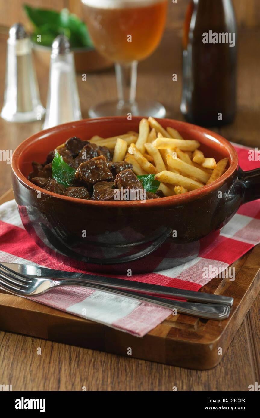Carbonnades à la flamande. Flemish beef and beer stew Stock Photo ...