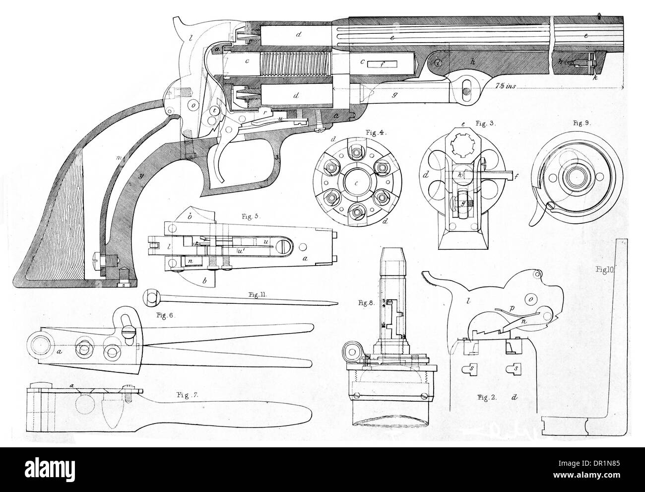 Colts patent repeating pistol in cross section showing all parts colts patent repeating pistol in cross section showing all parts circa 1889 pooptronica
