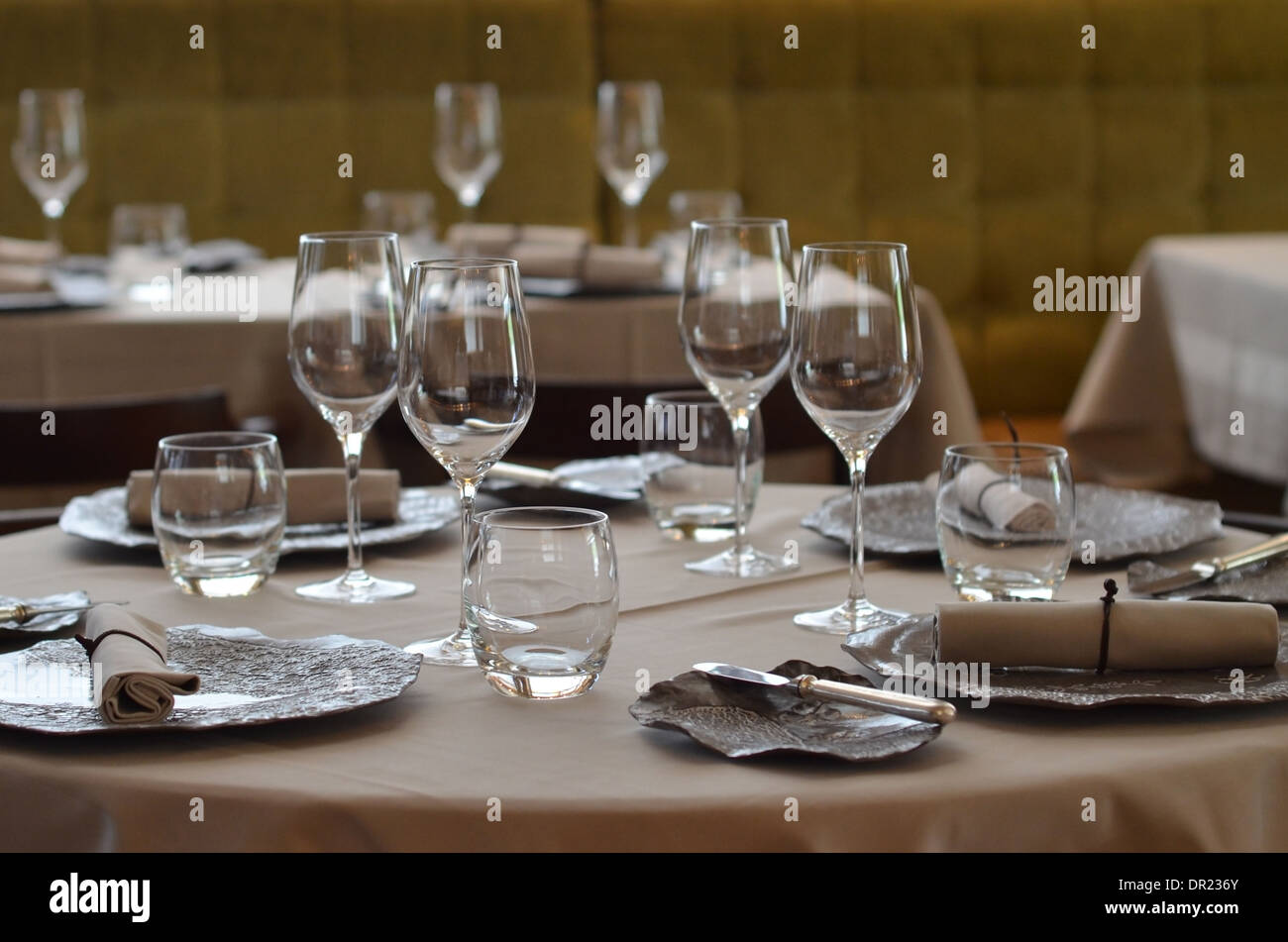 A laid up table at Club Gascon a Michelin starred fine dining