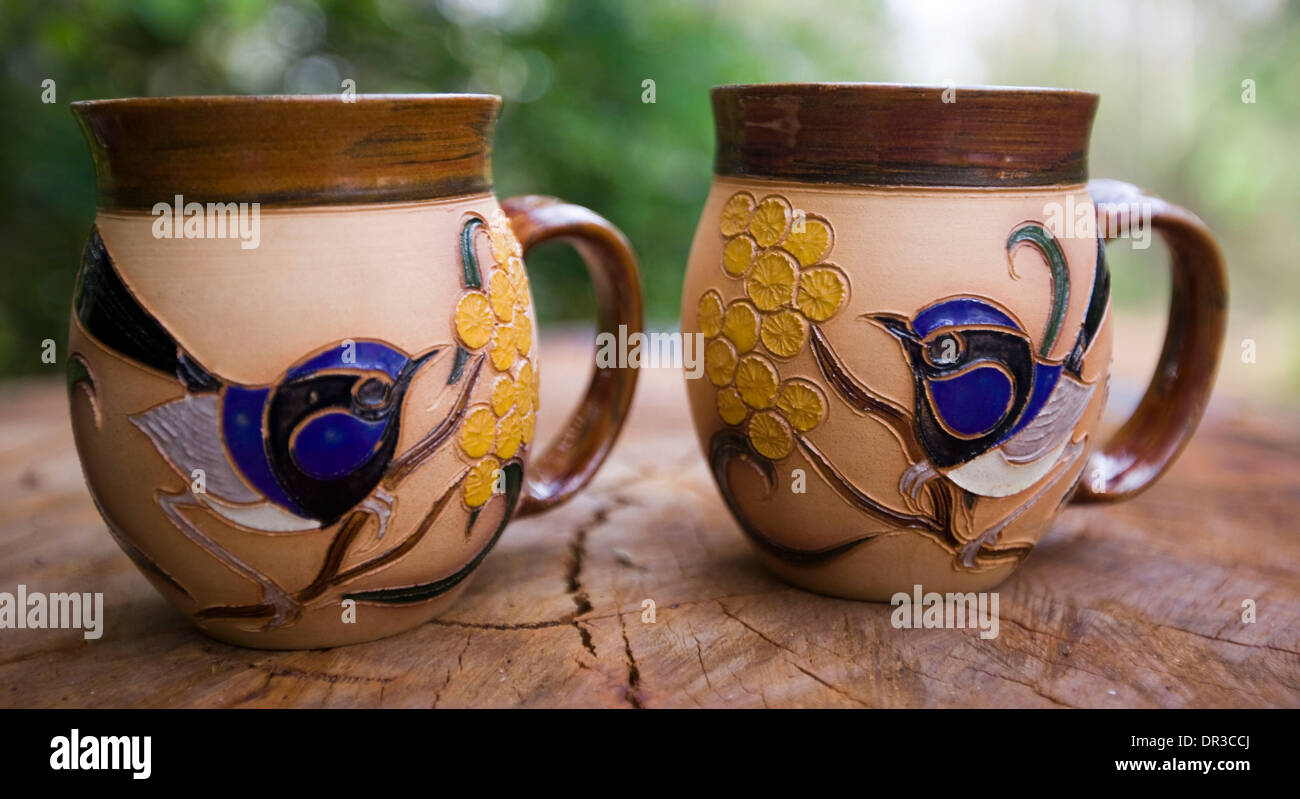 Coffee mugs unique - Two Decorative And Unique Hand Crafted Coffee Mugs With Highly Ornate And Colourful Motifs Of Australian Native Flora And Fauna