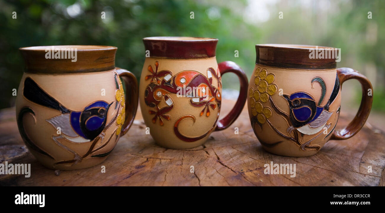 Coffee mugs unique - Decorative And Unique Hand Crafted Coffee Mugs With Highly Ornate And Colourful Motifs Of Australian Native Flora And Fauna