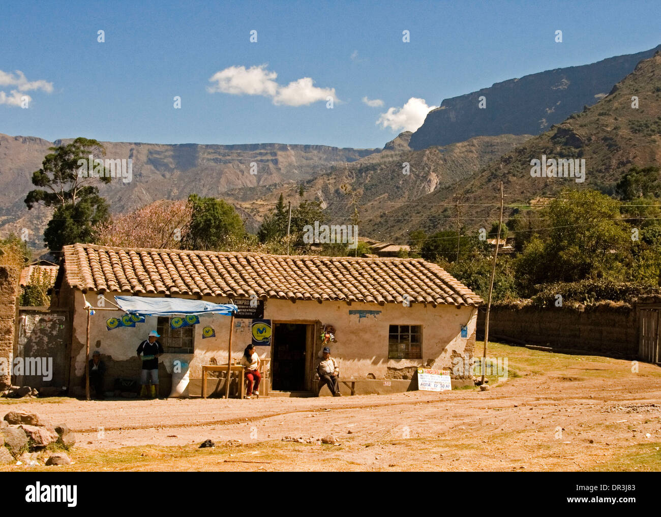 Mountain living near cusco peru royalty free stock photo - Roadside Restaurant In Village Near Cusco Peru Simple Adobe Building By Dirt Road At Foot Of Steep Slopes Of Andes Mountains