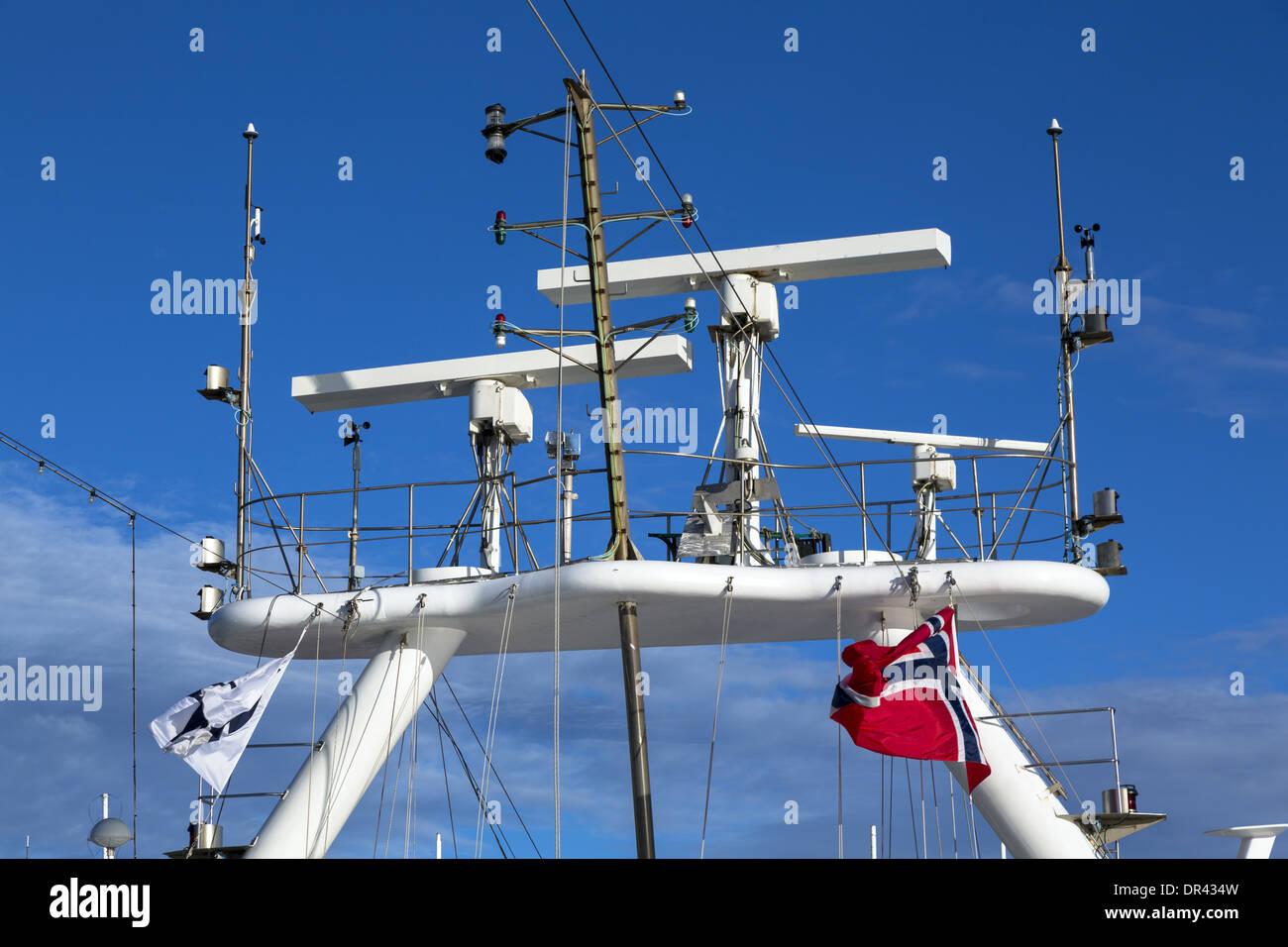 Radar Mast On A Cruise Ship Flying The Flag Of Norway Stock Photo - Cruise ship trackers