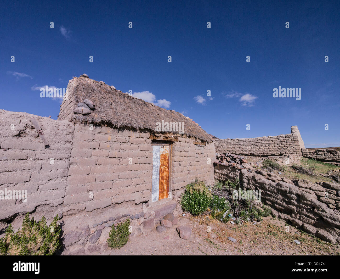 Abandoned Adobe Houses Missing Their Thatched Roofs In The