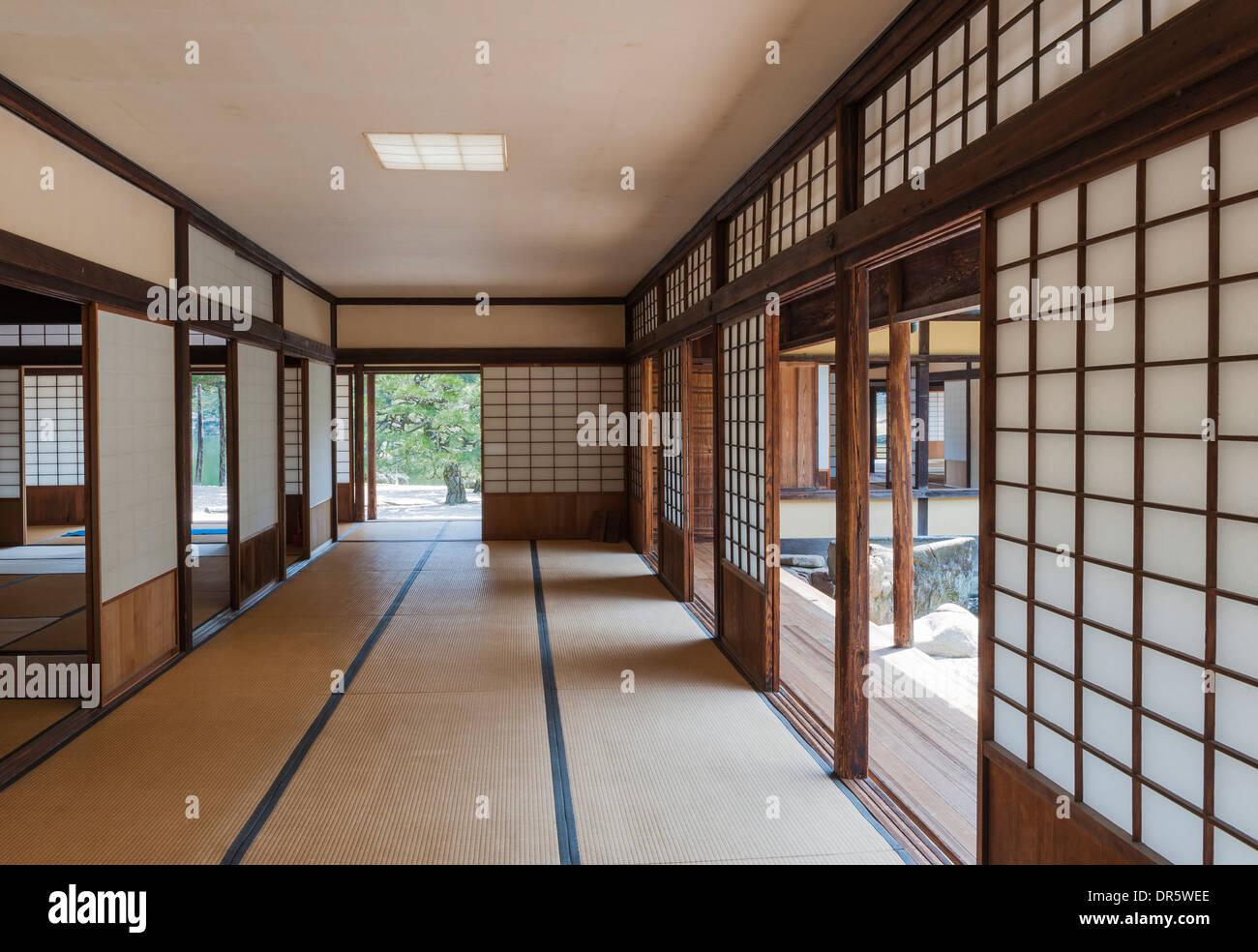 Japanese tea house interior - Ritsurin Koen Garden Japan Sliding Screens Shoji In The Interior Of