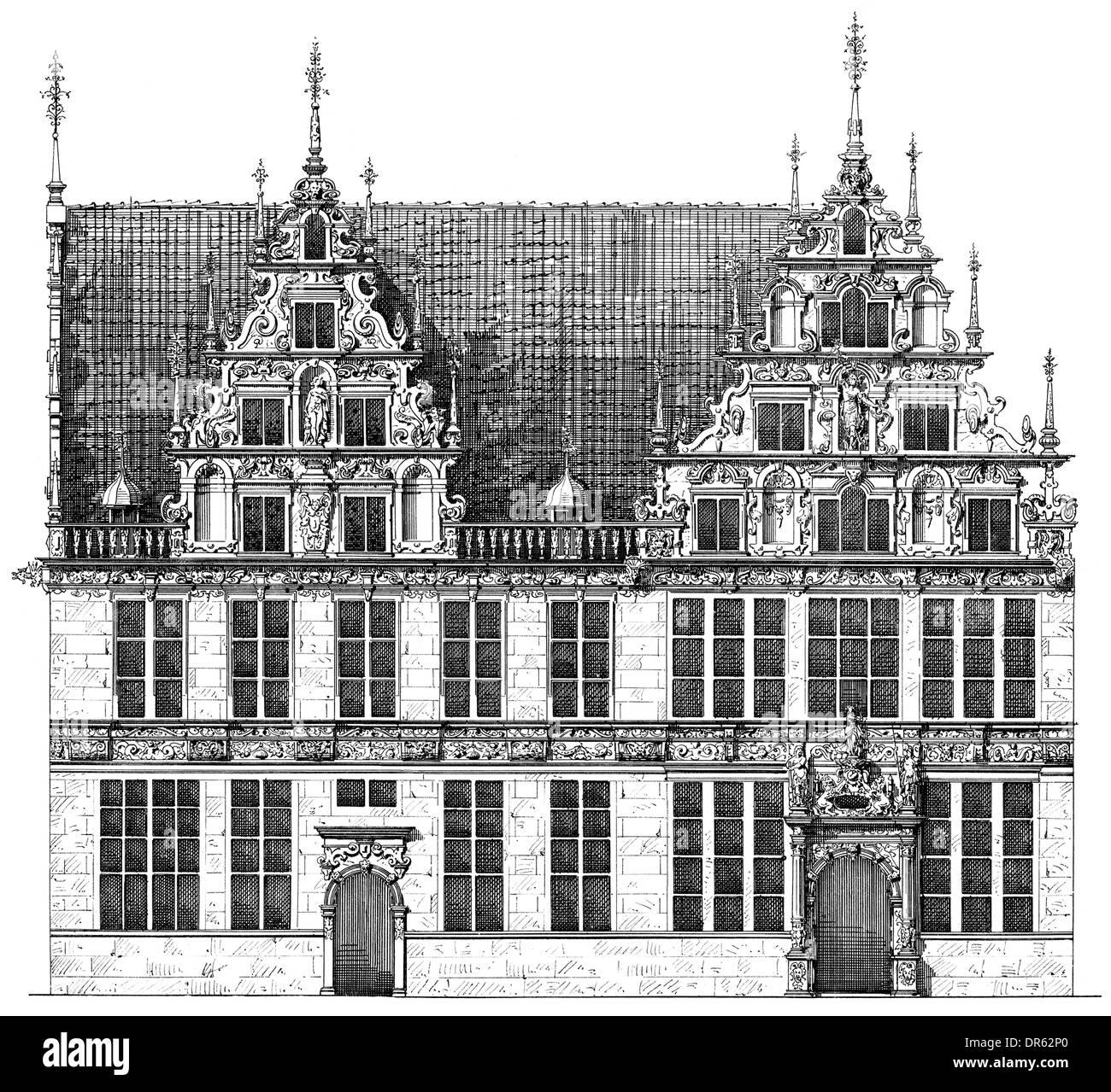 German Renaissance Style 17th Century Gewerbehaus Building In Bremen Germany