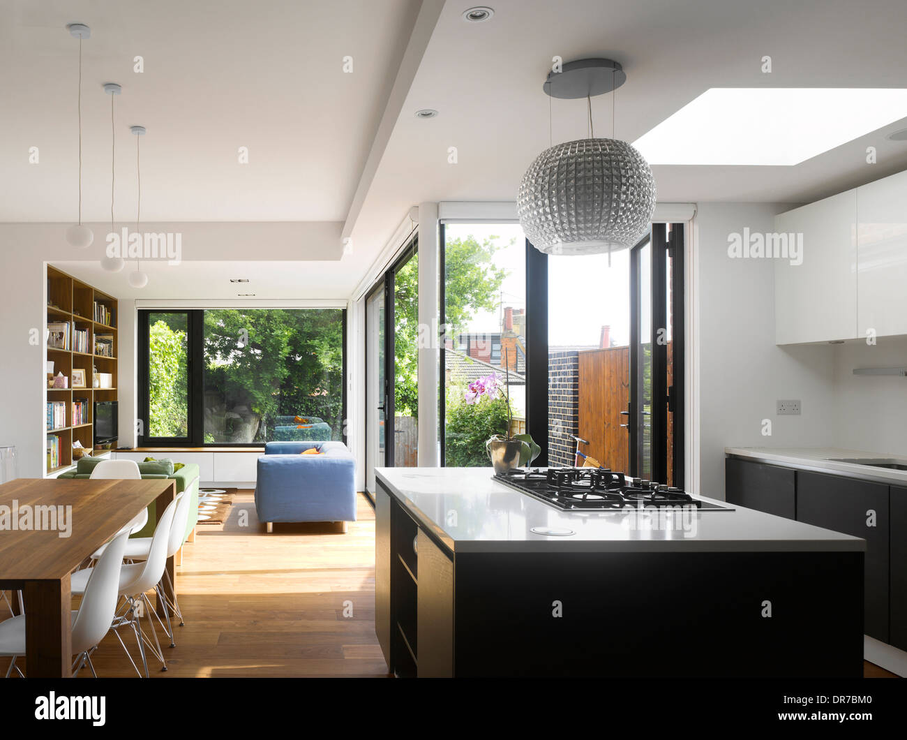 kitchen extension of london home, crouch end, london, uk stock