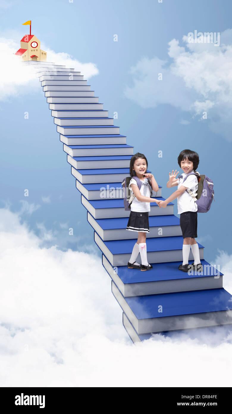 Girls walking up stairs