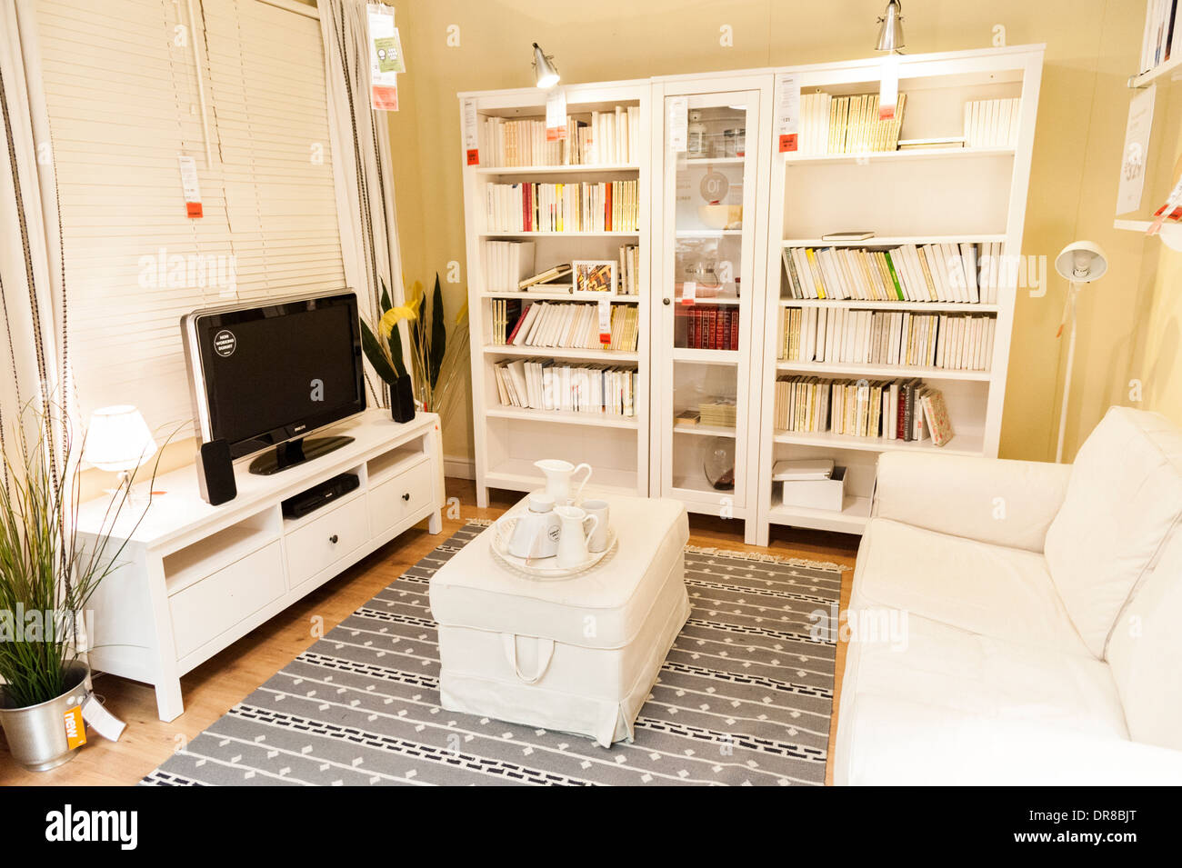 living room furniture in ikea, london, england, uk stock photo