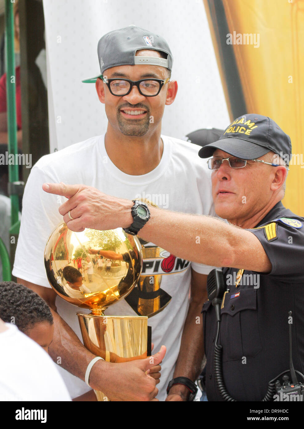 Juwan Howard during a Miami Heat victory parade through the
