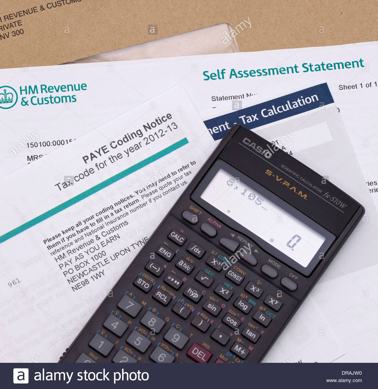 Calculator With Hm Revenue and Customs Paye Income Tax Form And Self – Income Assessment Form