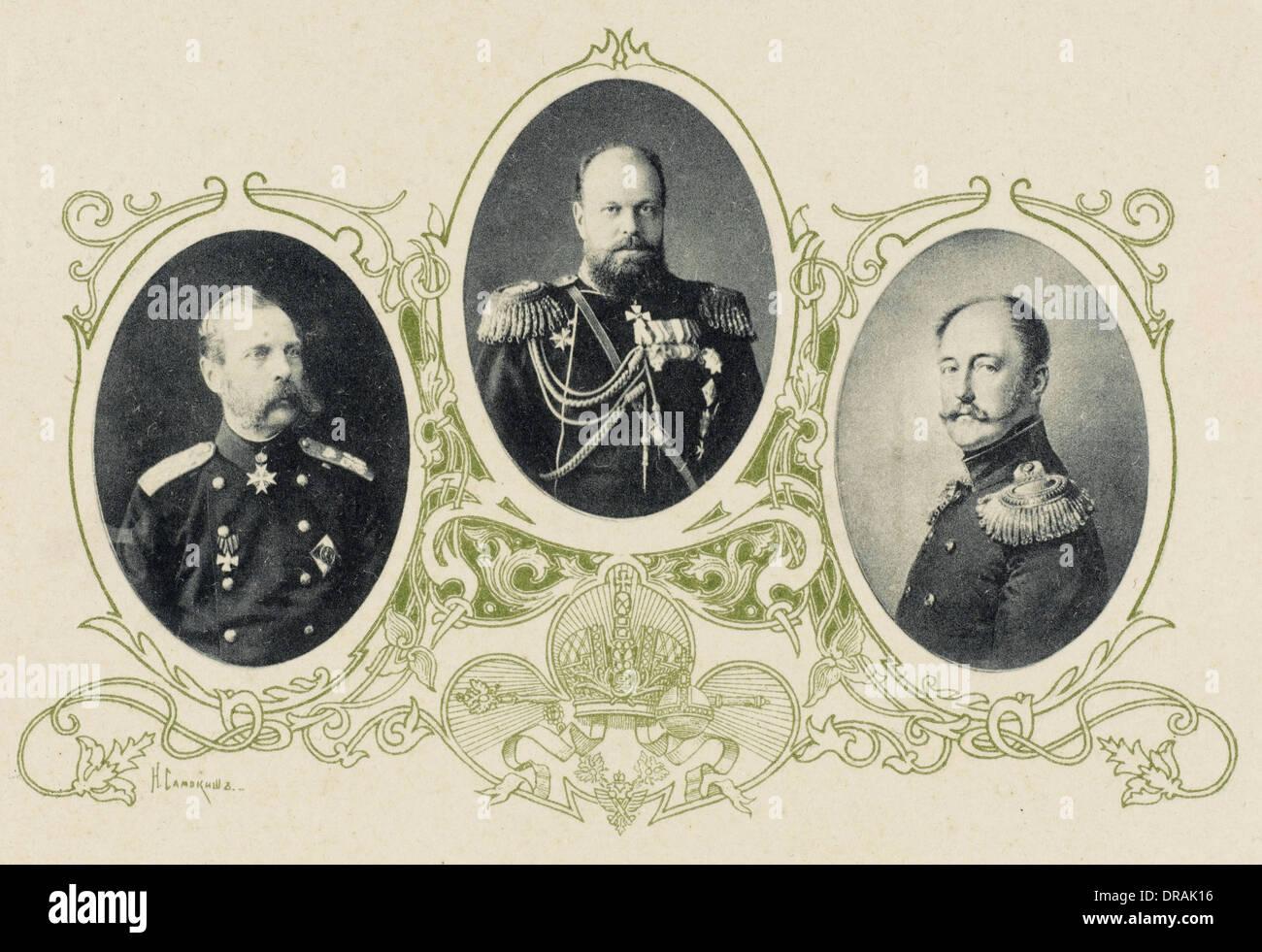Alexander II, Alexander III and Nicholas I of Russia