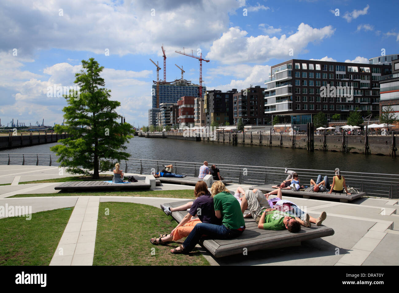 people relaxing at marco polo terraces hafencity hamburg germany stock photo royalty free. Black Bedroom Furniture Sets. Home Design Ideas
