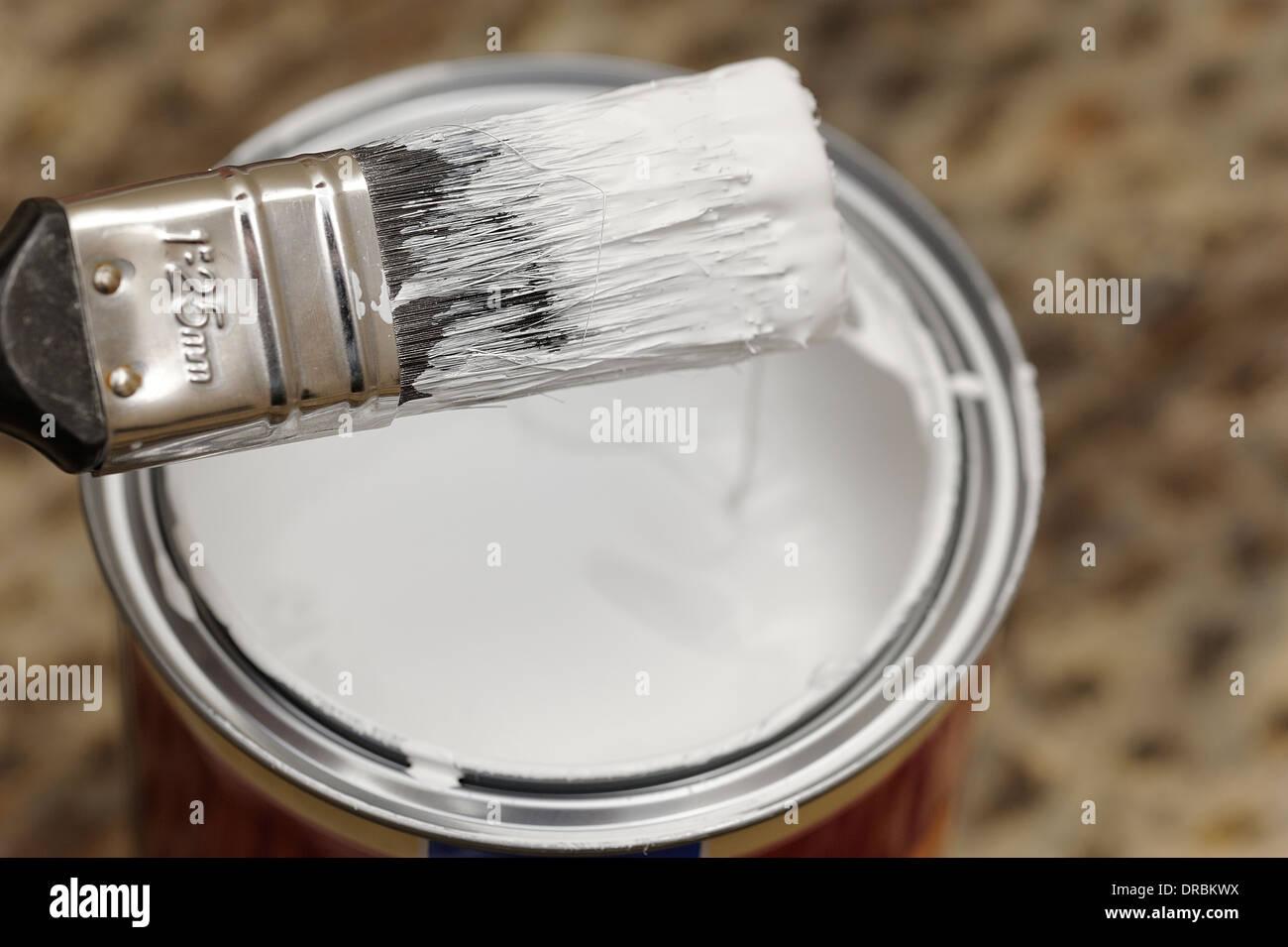 paint brush with tin of white gloss paint stock photo