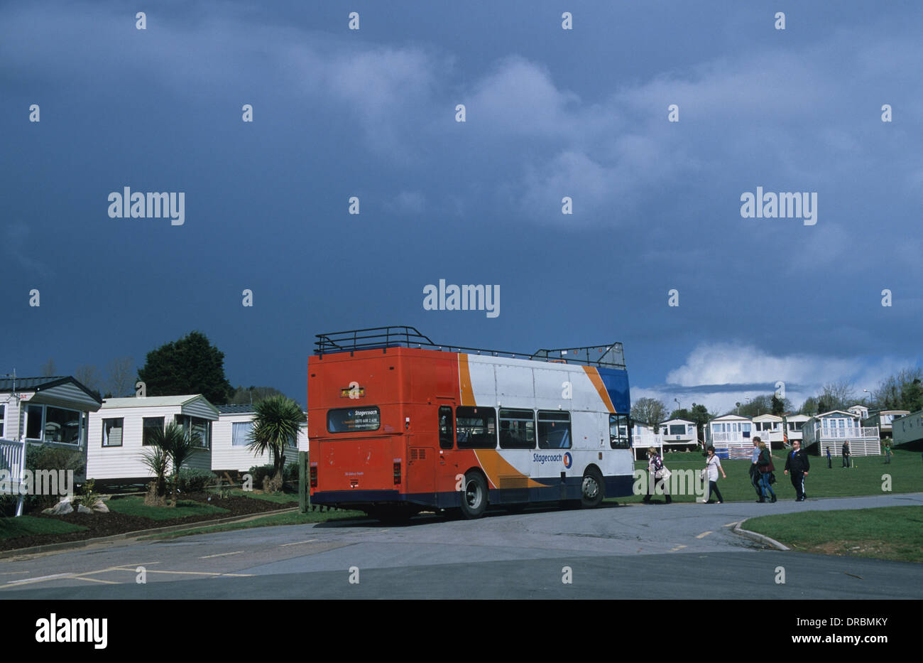 open top bus takes holidaymakers from haven sandy bay caravan site