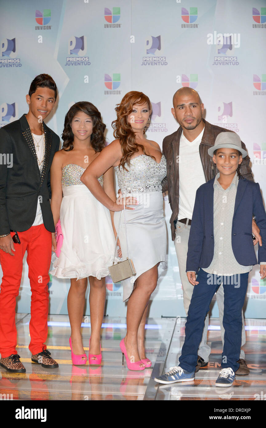 miguel cotto and family univisions premios juventud awards at bank united center arrivals coral gable