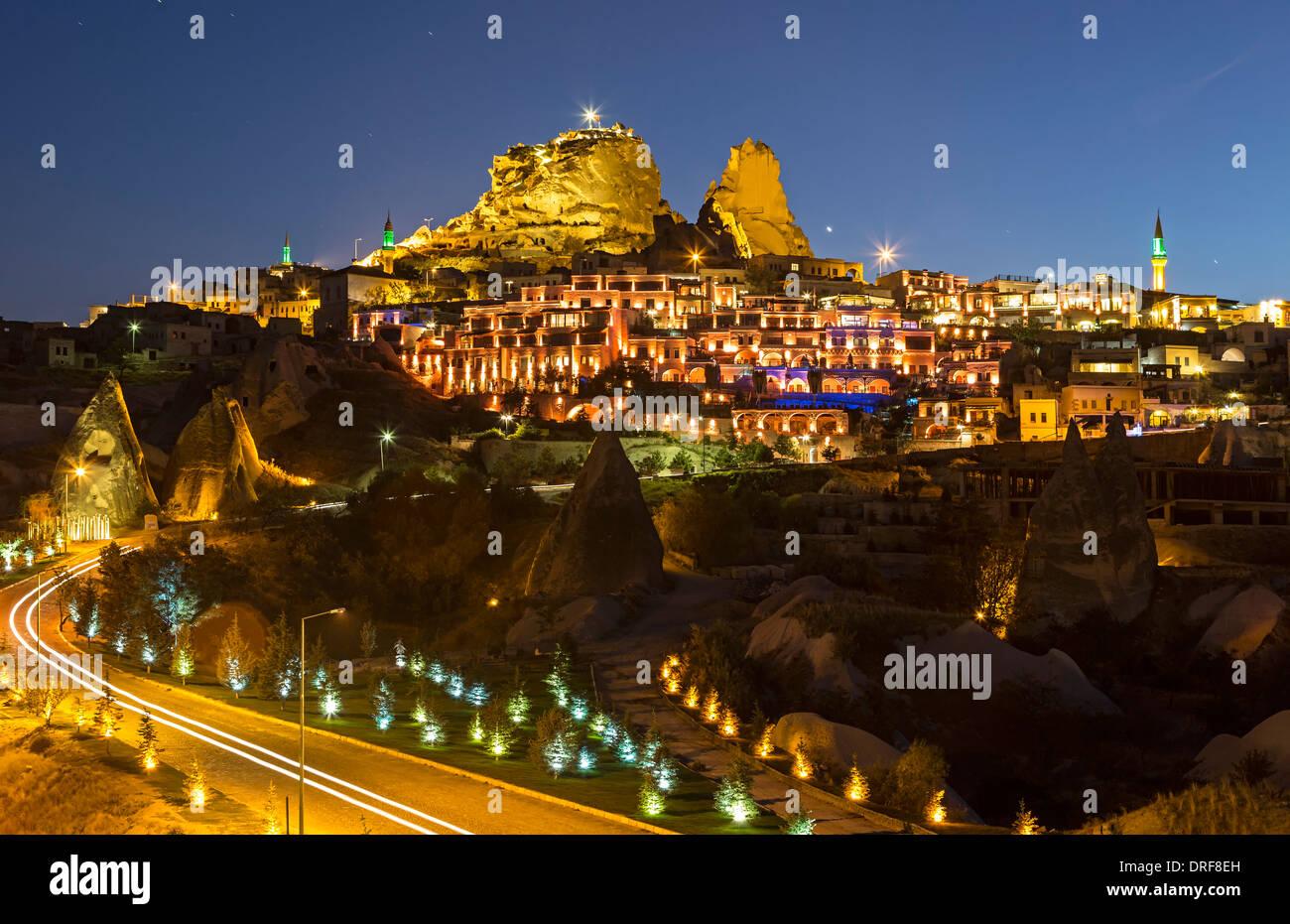 Uchisar Castle and Village, Cappadocia, Turkey Stock Photo, Royalty Free Imag...