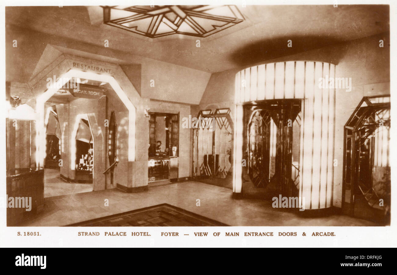 Foyer And Entrance Of The Windsor Hotel : Main entrance and foyer strand palace hotel london stock
