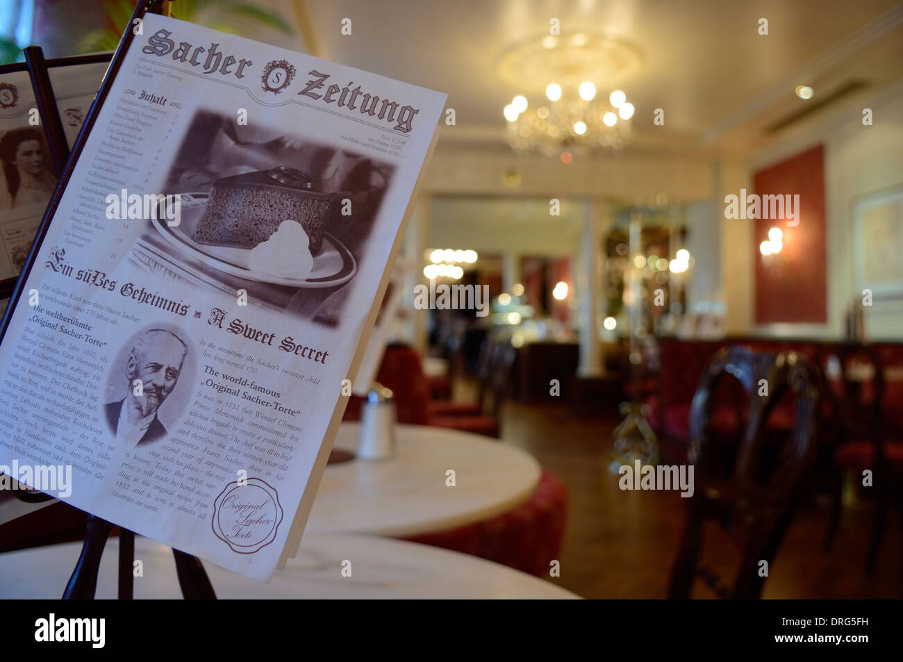 The Cafe Sacher. Famous for it's Sacher-Torte chocolate cake Stock ...