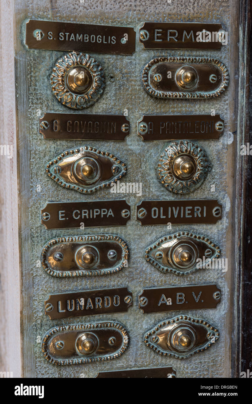 Brass Doorbell Buttons and Family Name Plates on an Entrance Panel ...