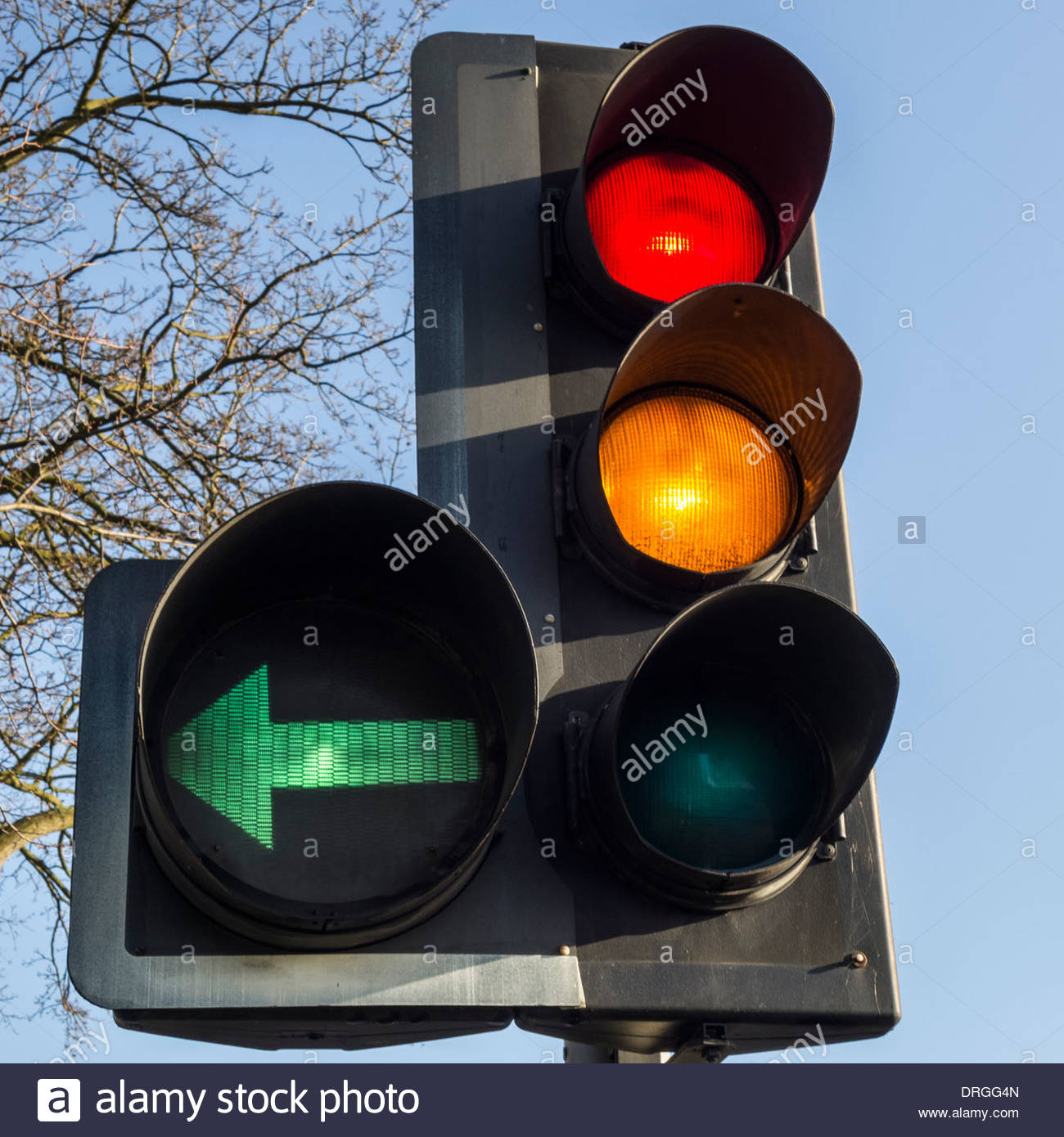 Traffic Light Showing Red And Amber Forward Signal Plus A