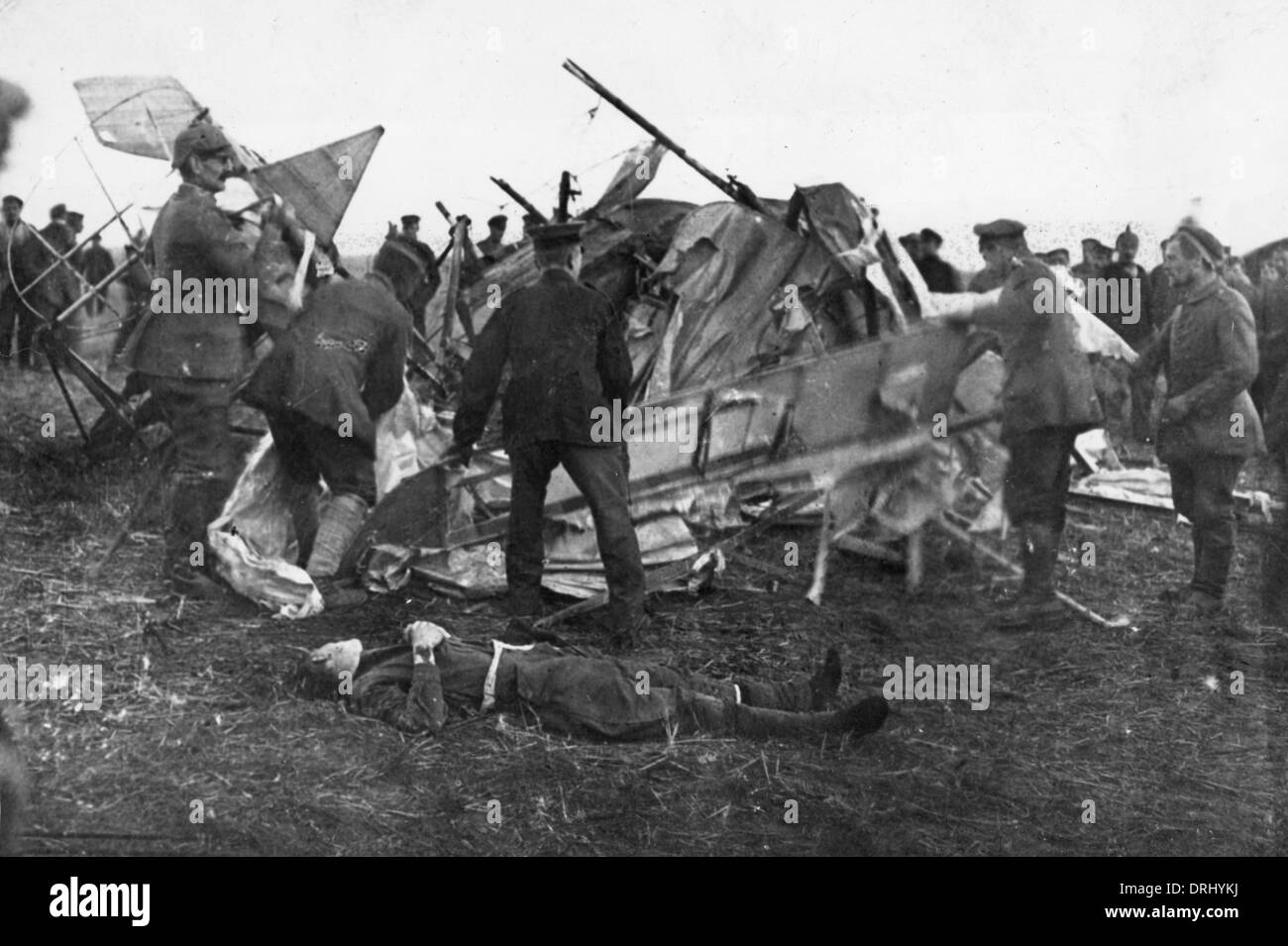 British plane crash with dead pilot ww1 stock photo royalty free