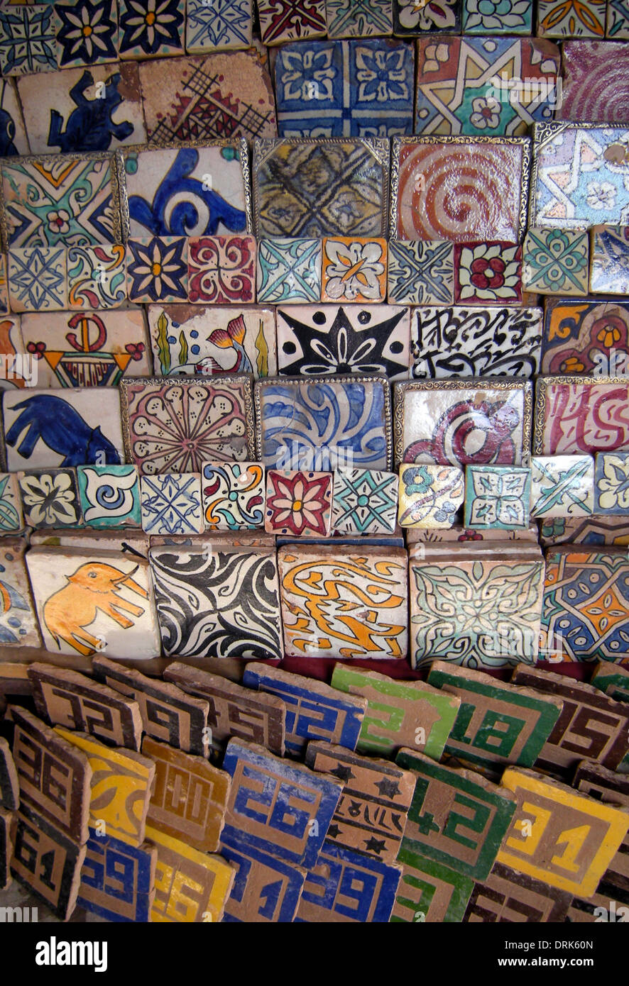 decorative ceramic tiles for sale in the souq marrakech morocco north africa - Ceramic Tile Castle Decoration