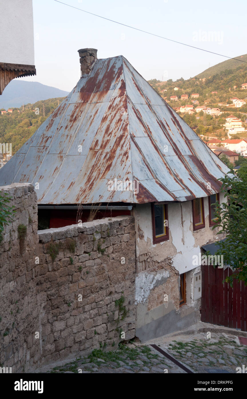 Typical House With Corrugated Iron Roof Jajce Bosnia And