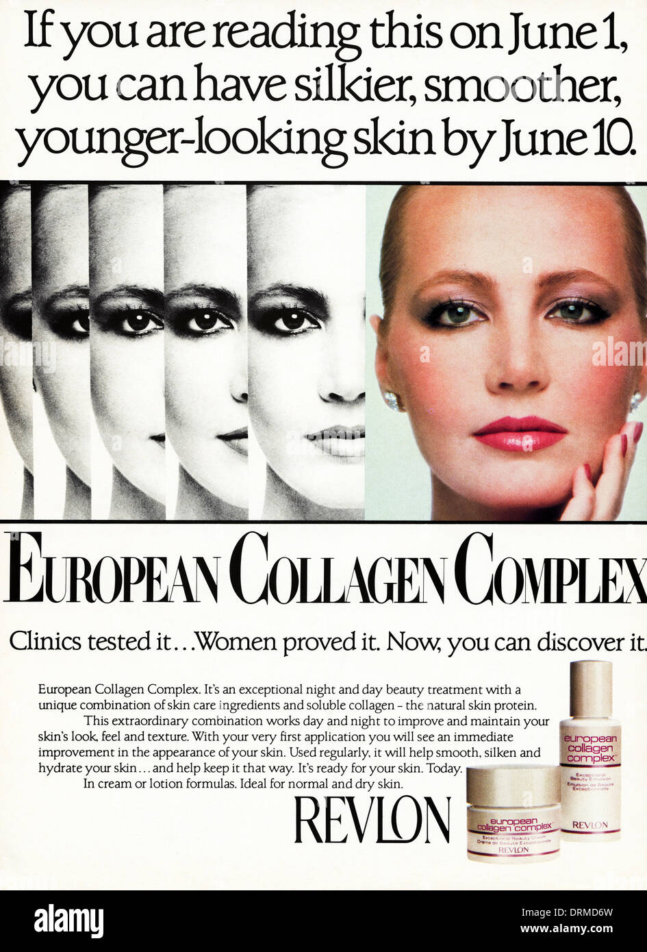 1980s fashion magazine advertisement advertising REVLON skin Stock ...