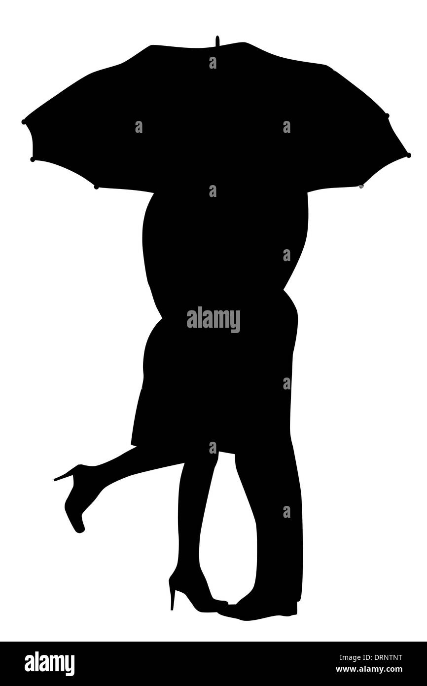 A courting couple, silhouette in the rain, kissing under an ... for Couple Silhouette Umbrella Kissing  588gtk