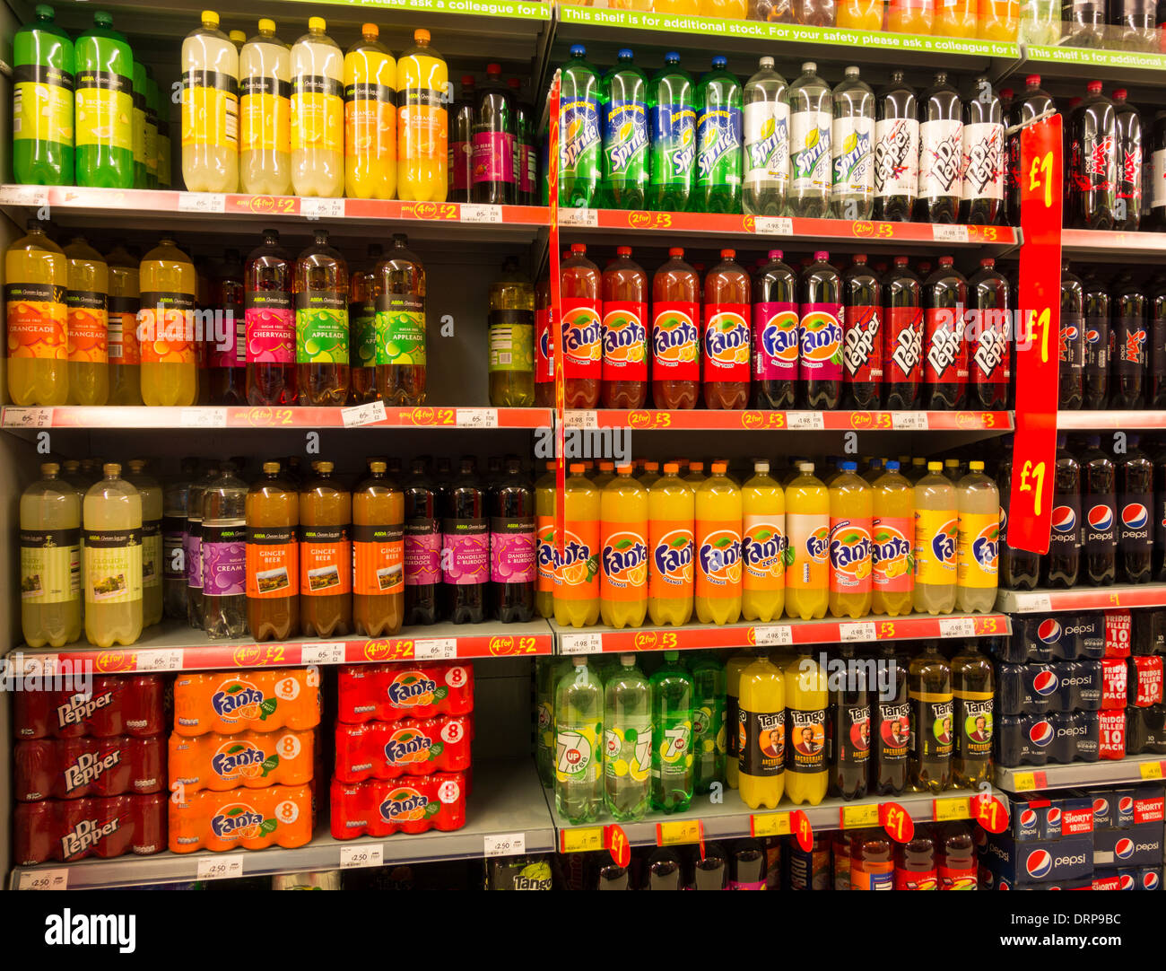 Soft drinks in Asda supermarket. UK Stock Photo, Royalty ...