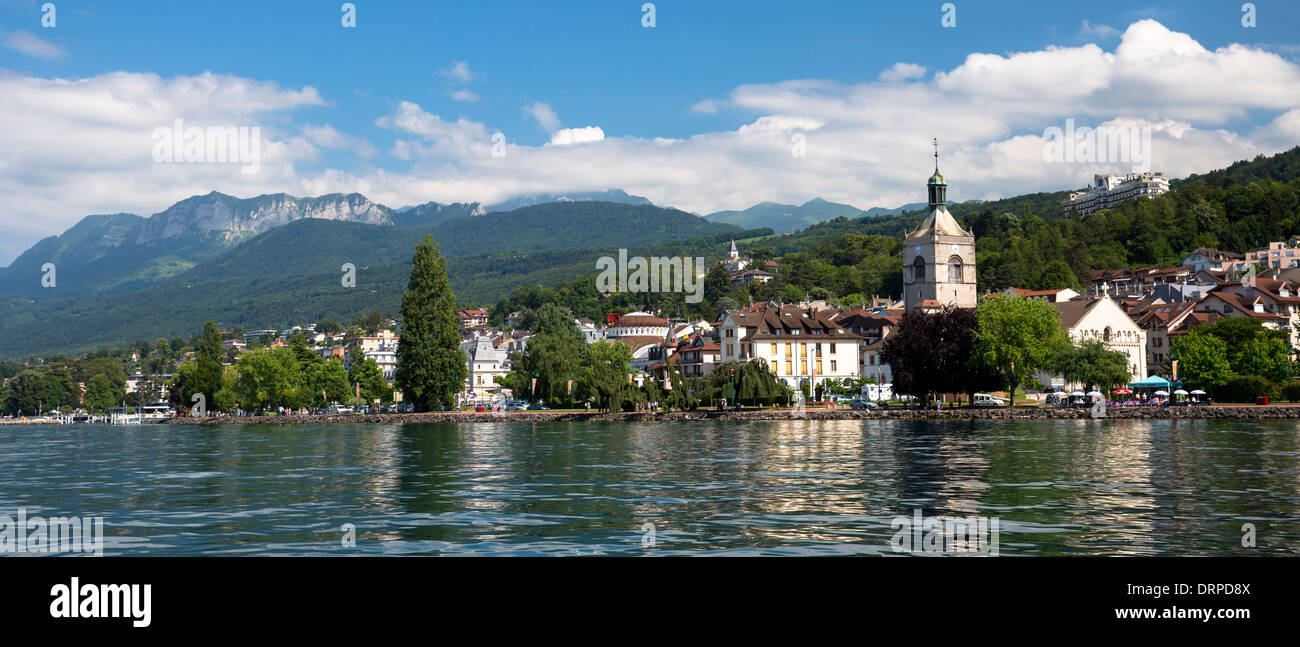 the town and church of evian les bains by lake geneva lac leman stock photo royalty free image. Black Bedroom Furniture Sets. Home Design Ideas