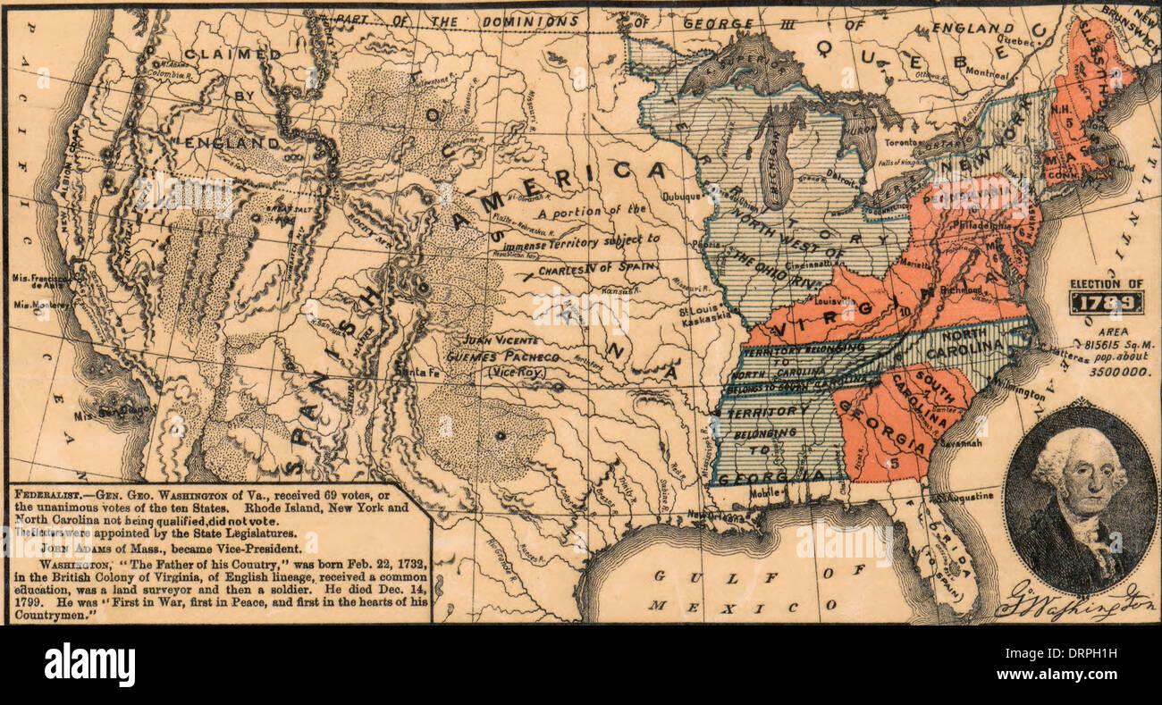 USA Presidential Election George Washington Ran Unopposed - Us map during washington precedency