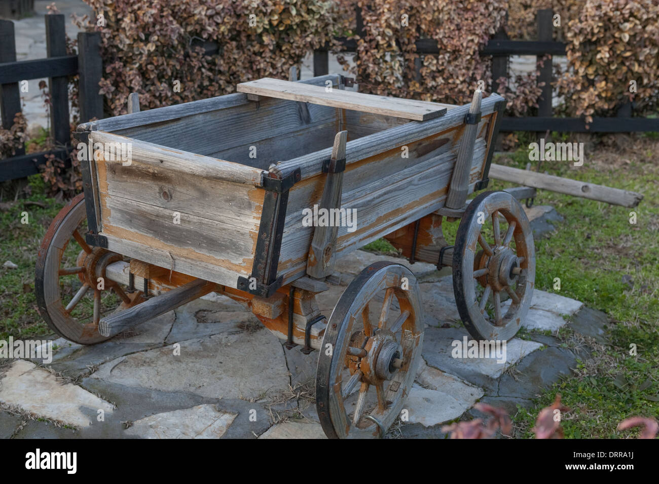 Small wooden empty old cart