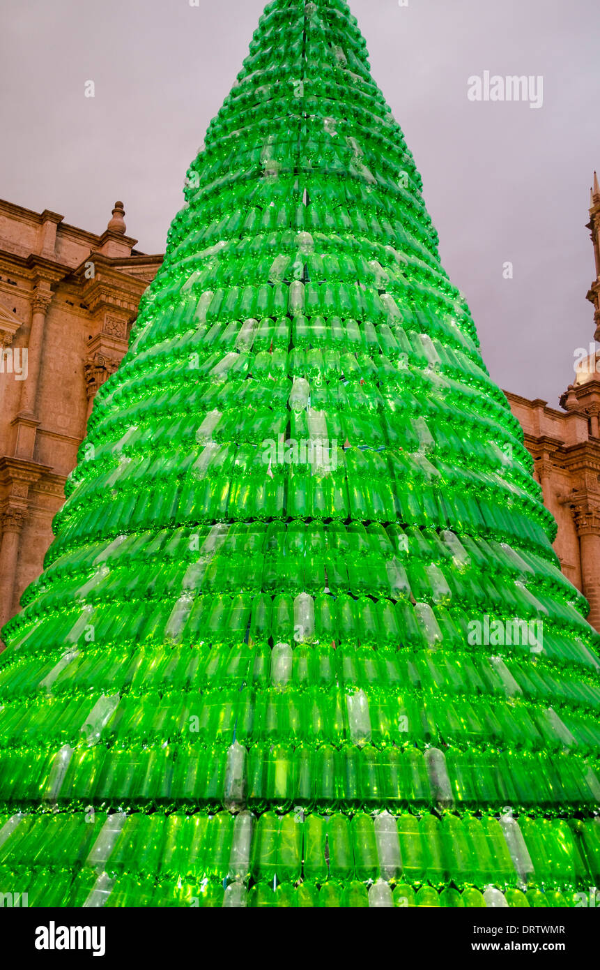 Christmas tree made from recycled plastic bottles in Christmas tree ideas using recycled materials