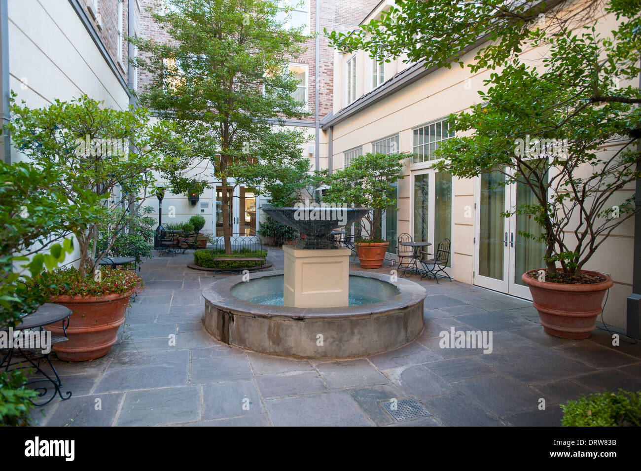 Stock photo usa mississippi ms miss greenwood luxury hotel the alluvian hotel owned by the viking range company upscale fine courtyard