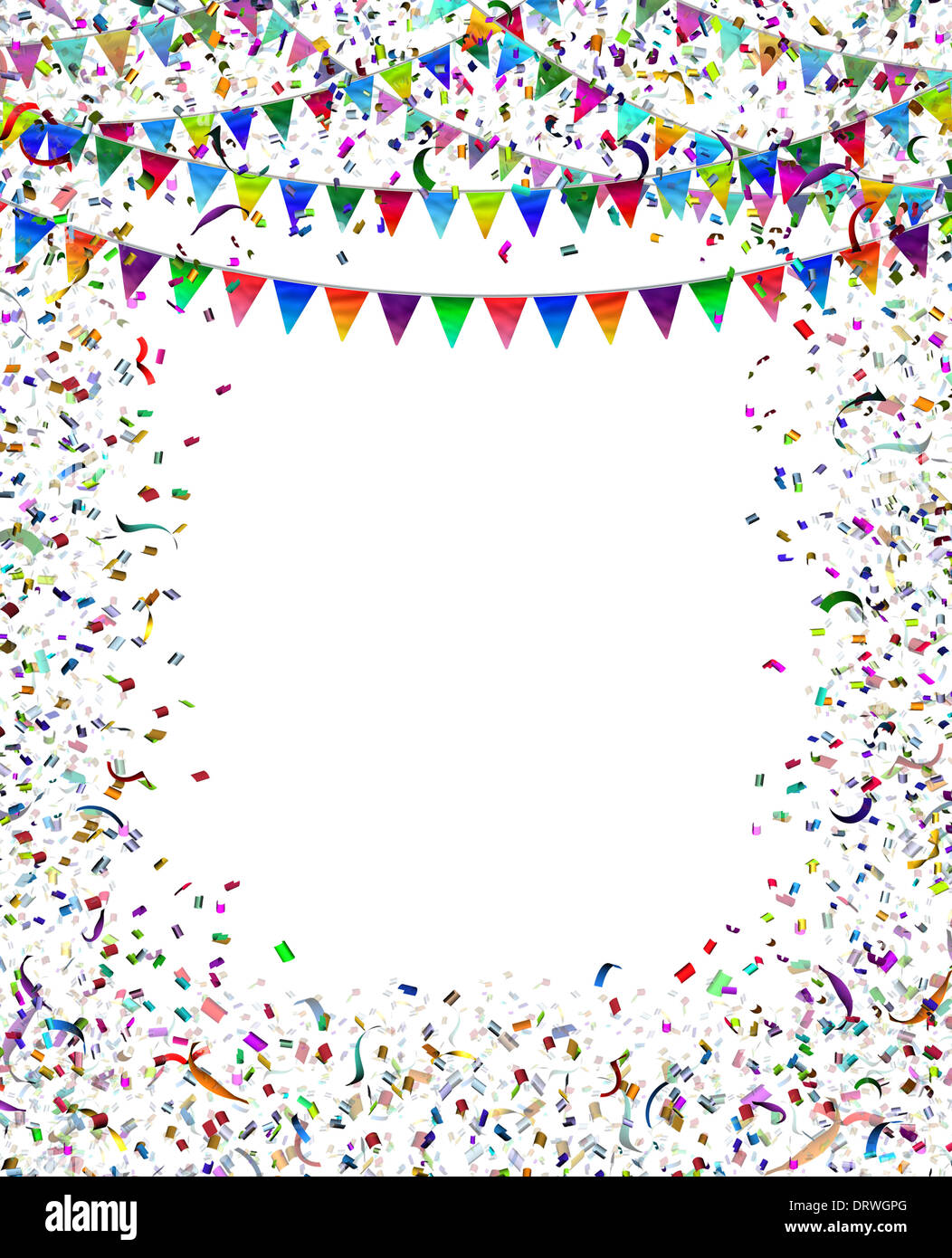 Bunting flags confetti frame as a celebration and party ...
