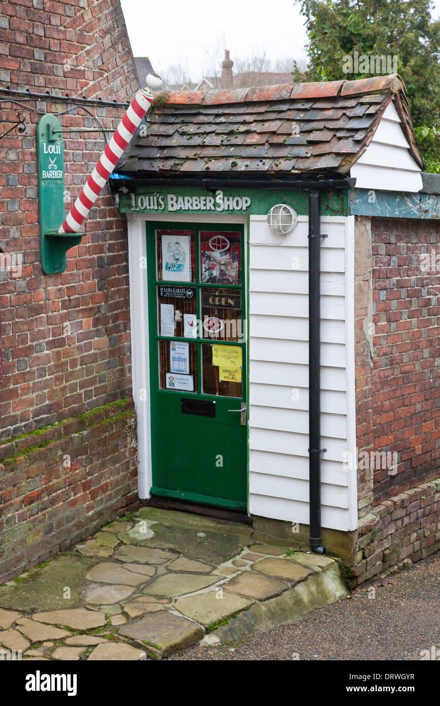 Old barber shop window - Small Barber S Shop In Cranbrook Kent Quaint Tiny Barber Shop Hairdresser Stock Image